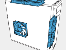 Inbouwruimte 140 mm ventilatoren