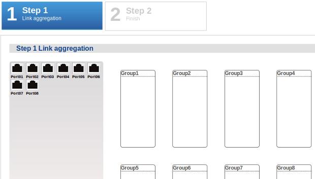 Web configurator - link aggregation wizard