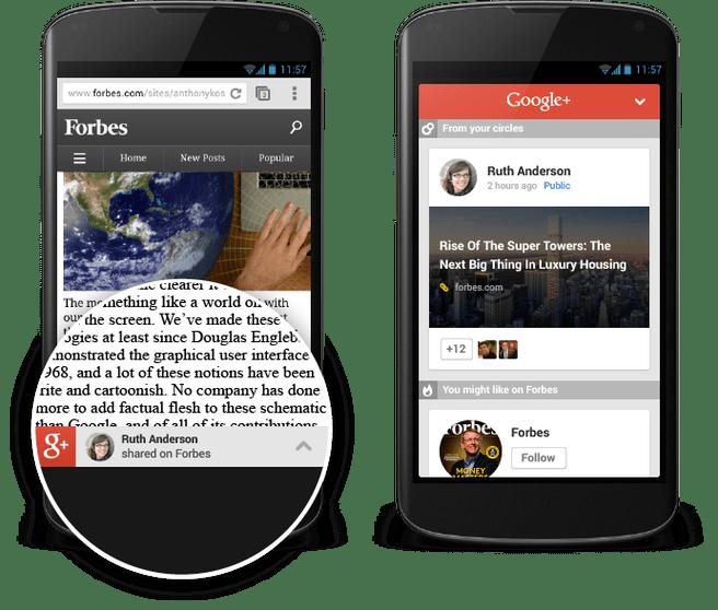 Google+ content recommendations