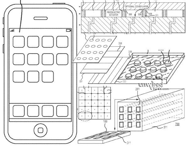 patentaanvraag apple toont touchscreen met haptische