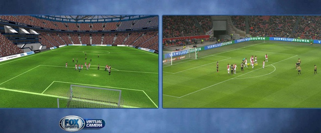Fox Sports: links de virtuele camera, rechts de echte beelden