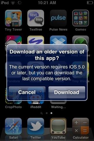 Apple older app-version
