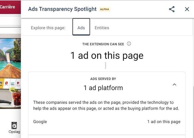Google Ads Transparancy Spotlight-extensie voor Chrome