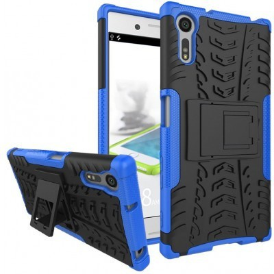 qMust Sony Xperia XZ Rugged Hybrid Case - Dual Protection - Blue