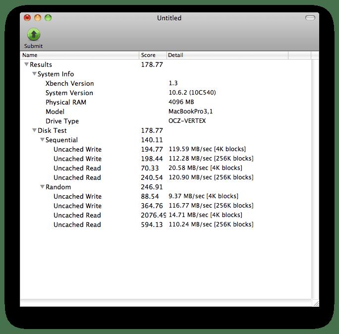 SSD OCZ Vertex 60GB benchmark