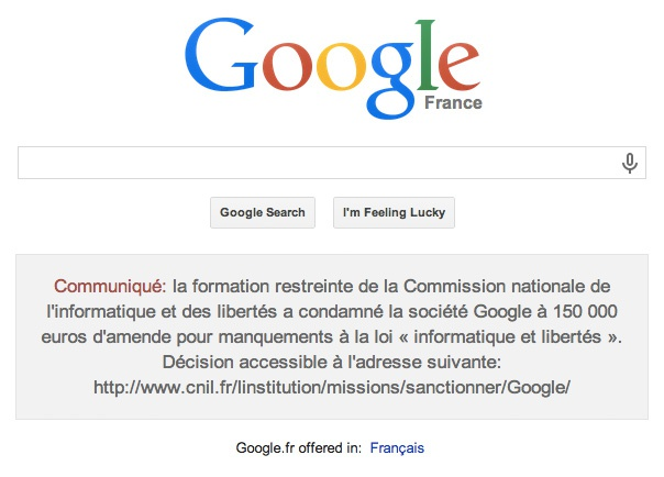 Google Frankrijk privacyboete