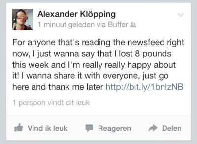 Spambericht op account van Alexander Klöpping na hack bij Butler