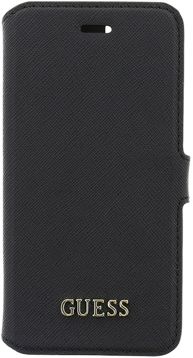 "Guess Saffiano PU Leather BookCase- Apple iPhone 7 (4.7"") - Black Zwart"