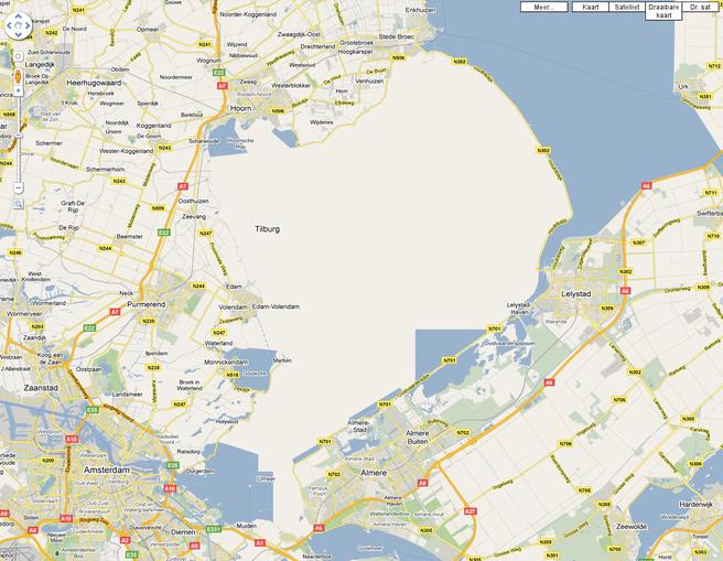 Google Maps verhuist Tilburg en dempt Markermeer