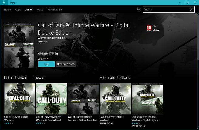Infinite Warfare Windows 10 Store afgeprijsd