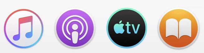 Apple Music, Podcasts, TV en Books-iconen voor macOS, gerucht april 2019. Bron: 9to5Mac