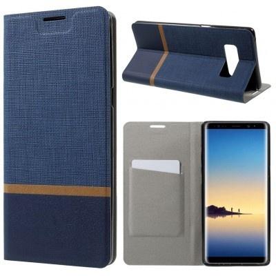 qMust Samsung Galaxy Note 8 Wallet Case - TPU frame - Blauw