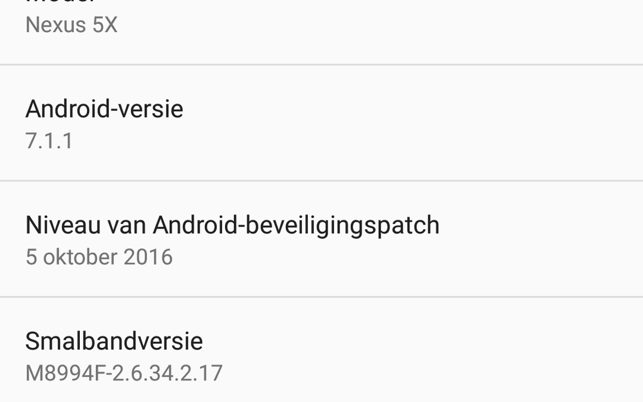 Android 7.1 Developer Preview op Nexus 5x