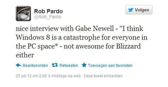 Tweet van Rob Pardo