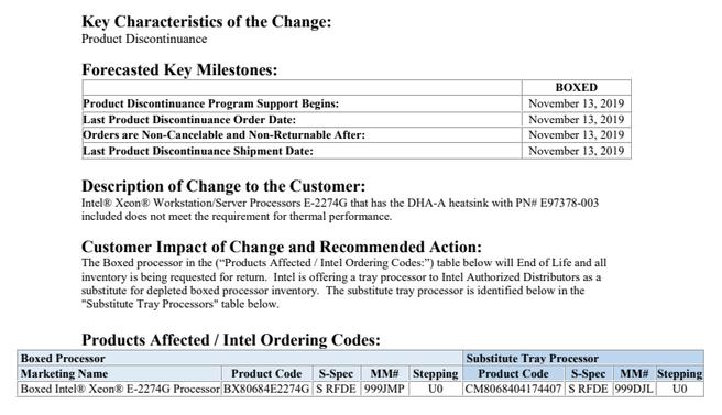 Intel product change notification E-2274G