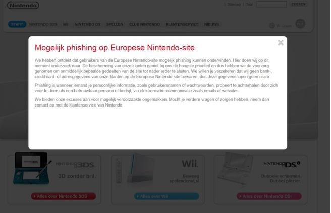 Melding op Nintendo-site over Phishing