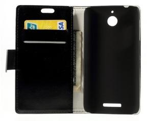 Kees Lederlook Portemonnee Hoesje HTC Desire 510 - Zwart
