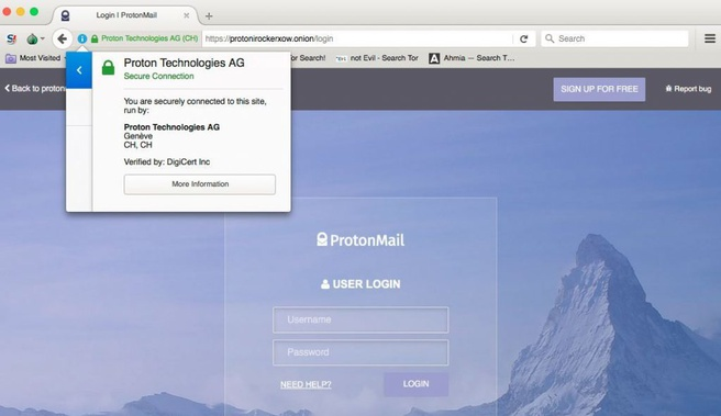 protonmail tor