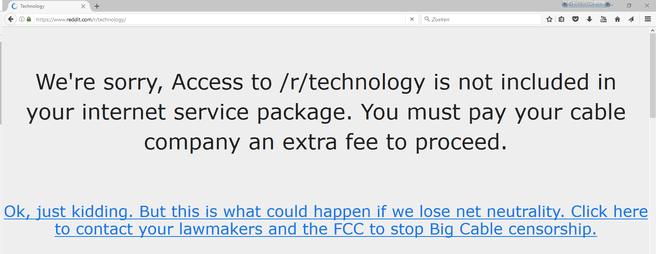 Reddit Tech netneutraliteit