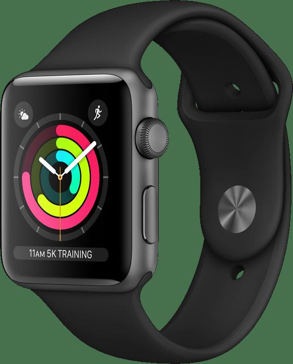 Apple Watch Series 3 (Sportbandje, 42mm) Grijs (Zwart)