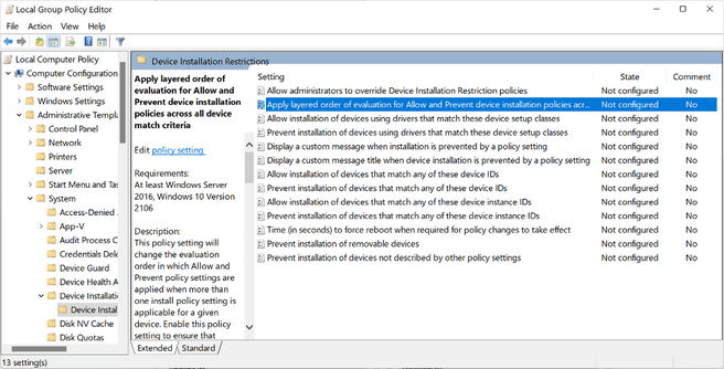 Windows layered group policies