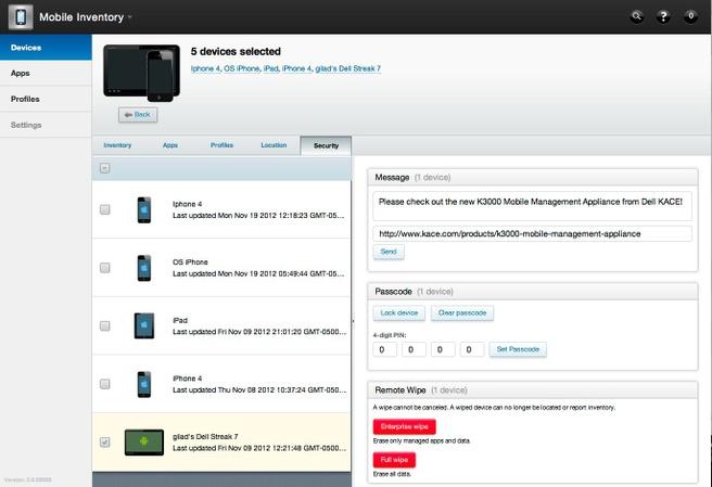 Interface van Dell Kace K3000 Mobile Management Appliance