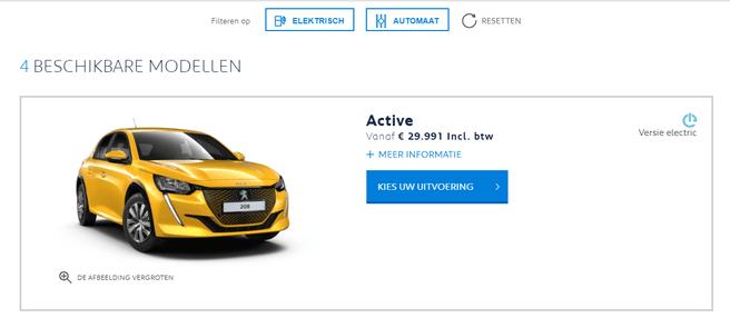 Peugeot e-208 prijs België