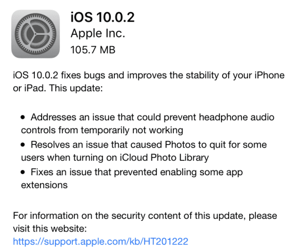 Apple iOS 10.0.2