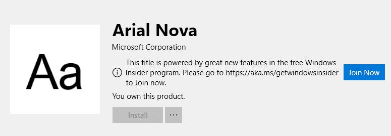 Arial Nova in de Microsoft Store