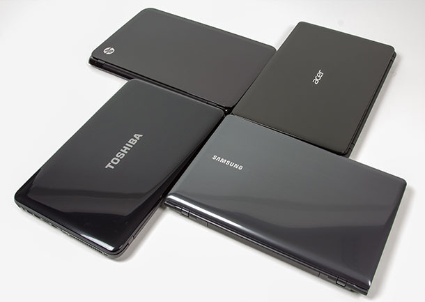 HP Sleekbook 15, Acer Aspire E1, Samsung Series 3, Toshiba C855