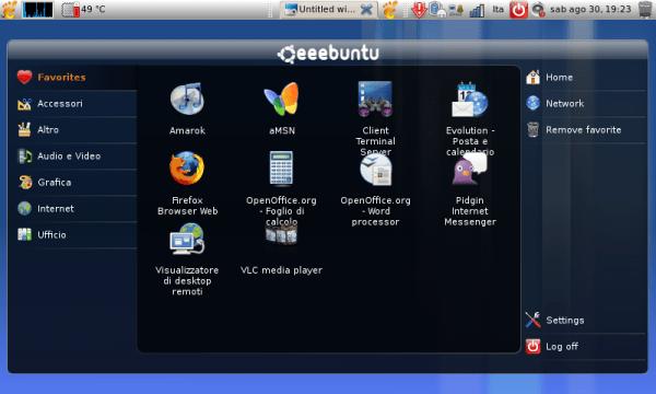 EEE PC - EEEbuntu interface