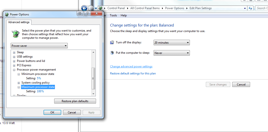 Windows 7: Change Advanced power settings