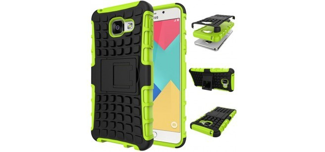 qMust Samsung Galaxy A3 (2016) Rugged Hybrid Case - Dual Protection - Green