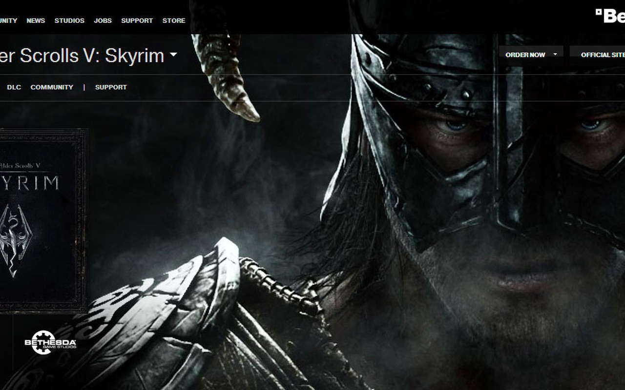 The Elder Scrolls V: Skyrim op Engelse Bethesda-site