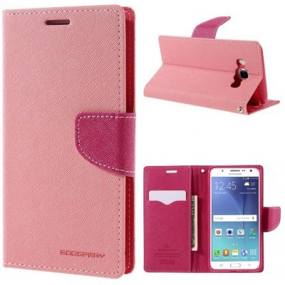 Mercury Samsung Galaxy J5 (2016) Fancy Diary Wallet Case - TPU frame - Pink
