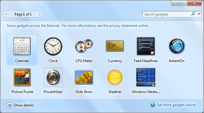 Gadgets Windows Vista