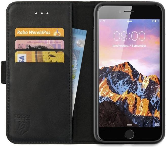 Rosso Deluxe Apple iPhone 7/8 Plus Hoesje Echt Leer Book Case Zwart (iPhone 7/8 Plus) Zwart