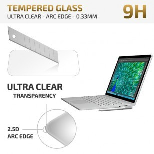 qMust Microsoft Surface Book Tempered Glass protector - Ultra Clear - Arc Edge