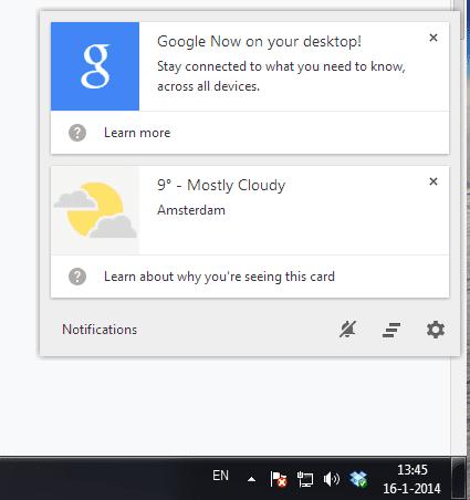 Google Now op desktop