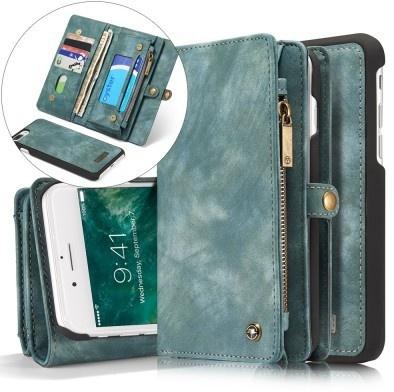 Caseme iphone 7 Plus Vintage Lederen Portemonnee Hoesje - uitneembaar met backcover (Groen)