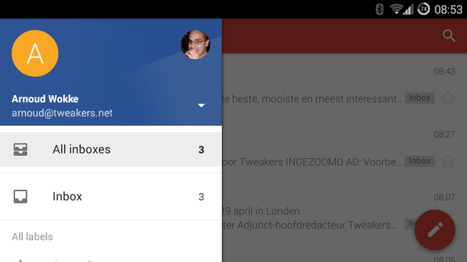 Gmail gecombineerde inbox