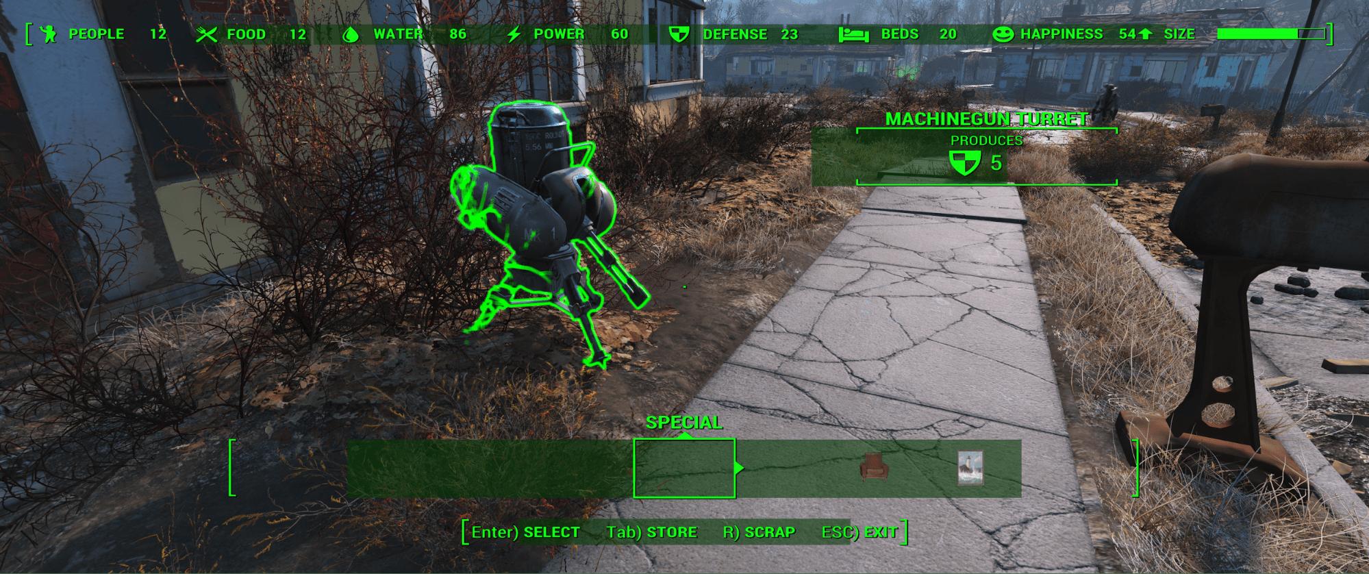 Fallout 4 Settlement builder UI issues