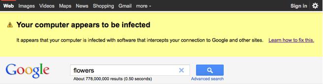 Google malware-waarschuwing