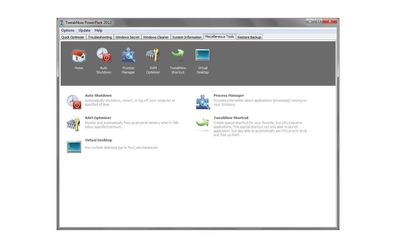 TweakNow PowerPack 2012 screenshot