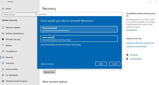 Windows 10 May 2020 Update Cloudreset