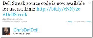Twitteraankondiging Dell Streak en Aero opensource