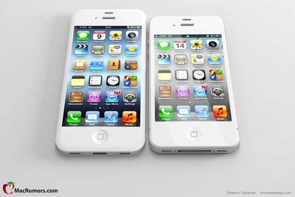 Mockup: iPhone uit geruchten naast iPhone 4S (bron:Macrumors.com)