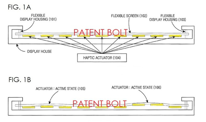 Patentaanvraag Samsung: haptische actuatoren in neutrale stand (1A), haptische actuatoren geactiveerd (1B, pijltjes 105 en 106)