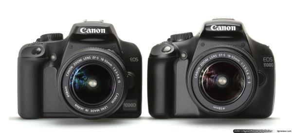 Canon EOS 1100D en 1000D side-by-side front