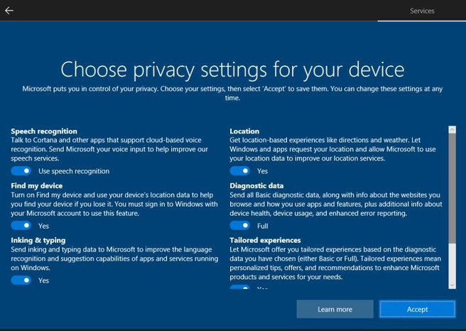 Windows 10 Spring Update Privacy